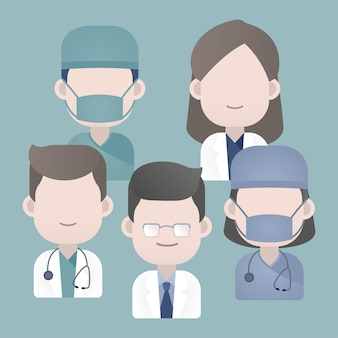 Groupe de médecins avec stéthoscope