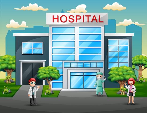 Groupe de médecins en uniforme devant l'hôpital