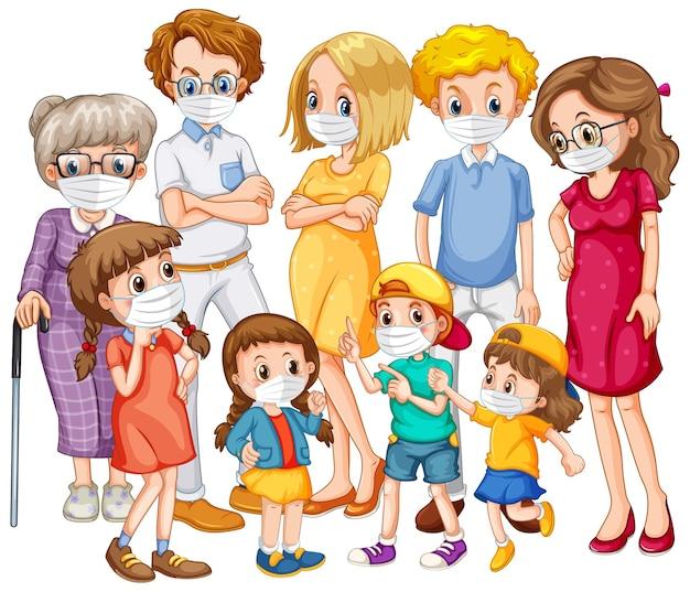 Groupe de membre de la famille portant un masque