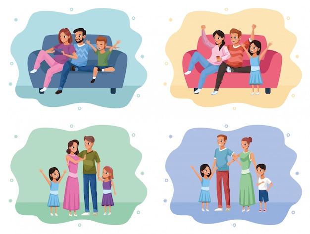 Groupe de membres de la famille campagne rester à la maison