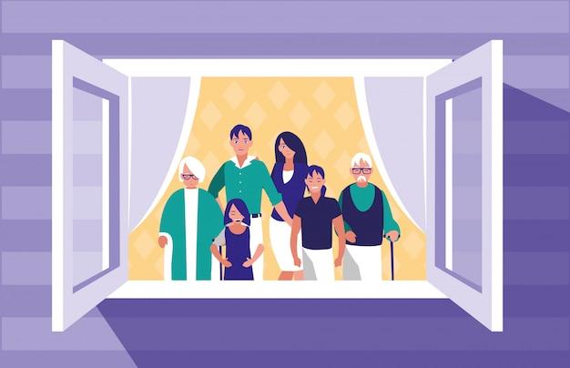 Groupe de membres de la famille dans la fenêtre