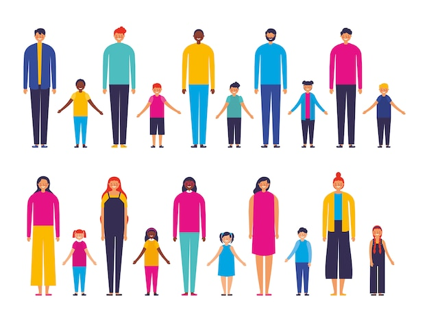 Groupe de membres de la famille interracial