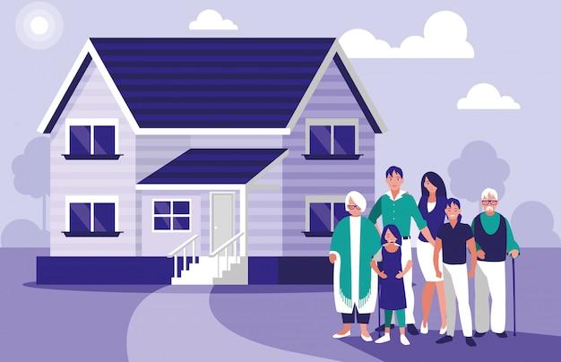 Groupe de membres de la famille avec maison