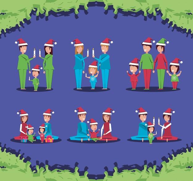 Groupe de membres de la famille avec des vêtements de noël