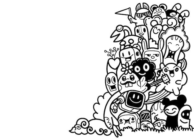 Groupe de monstre mignon heureux multiculturel pour votre conception. modèle de brochure publicitaire.