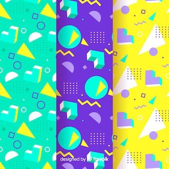 Groupe de motifs colorés memphis