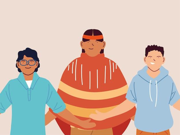 Groupe multiethnique de personnes debout ensemble, multiculturel.