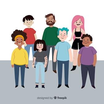 Groupe multiracial de personnes différentes