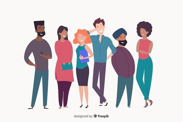 Groupe multiracial de personnes heureuses souriant