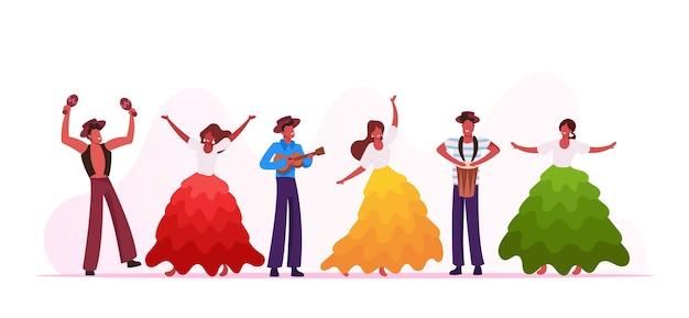 Groupe de musiciens de carnaval de rio et danseurs de filles isolés sur fond blanc. jeunes hommes jouant de la batterie et du ukulélé au festival traditionnel au brésil. artistes, performance, dessin animé, plat, vecteur, illustration