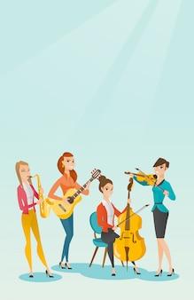 Groupe de musiciens jouant des instruments de musique.