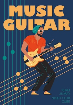 Groupe de musique de caractère, jazz, rock, blues concept en ligne de bannière élégante affiche web.
