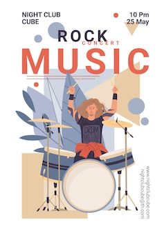 Groupe de musique de caractère live rock, concept en ligne web affiche bannière élégante jazz.