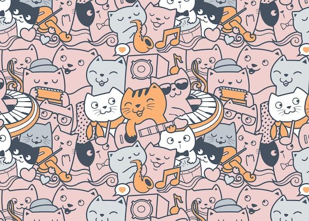 Groupe de musique de chat doodle fond