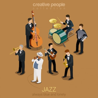 Groupe de musique jazz plat isométrique, illustration personnes jouant sur des instruments concert de scène de blues.
