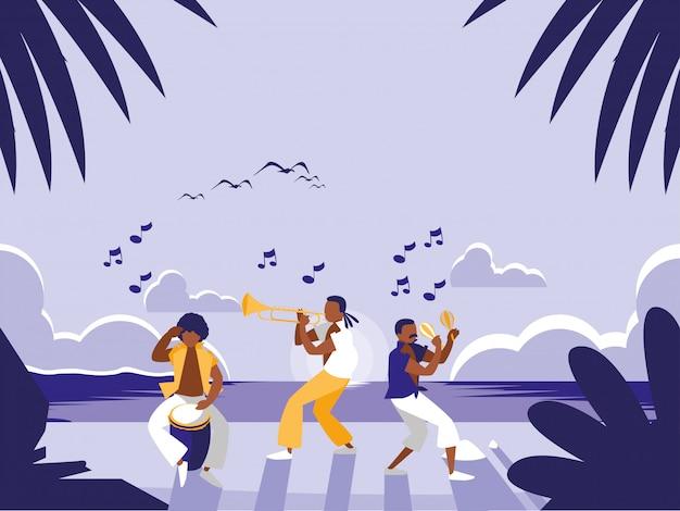 Groupe de musique à la plage tropicale