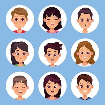 Groupe de neuf enfants