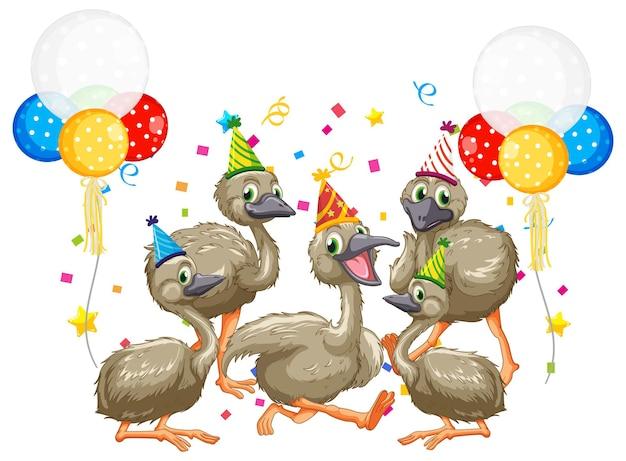 Groupe d'oie en personnage de dessin animé de thème de fête sur fond blanc