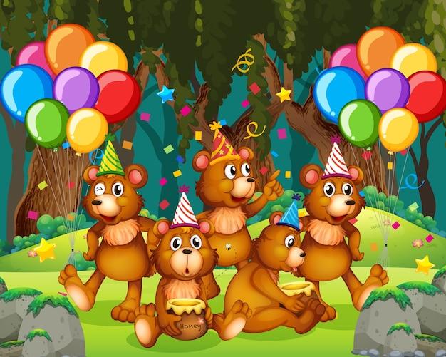Groupe d'ours en personnage de dessin animé de thème de fête sur la forêt