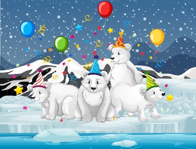 Groupe d'ours polaires en personnage de dessin animé de thème de fête sur la forêt