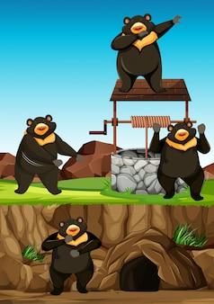 Groupe d'ours sauvages dans de nombreuses poses dans le style de dessin animé de parc animalier