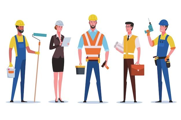 Groupe d'ouvriers du bâtiment. ingénieur, architecte, technicien et constructeur