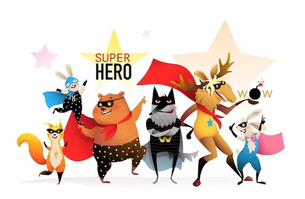 Groupe de performance animaux super-héros