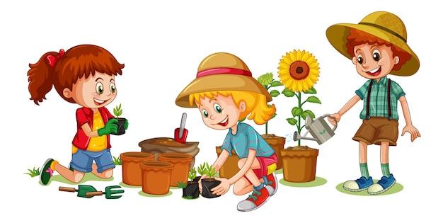 Groupe de personnage de dessin animé de jeunes enfants sur blanc