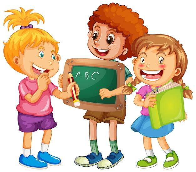 Groupe de personnage de dessin animé de jeunes enfants sur fond blanc