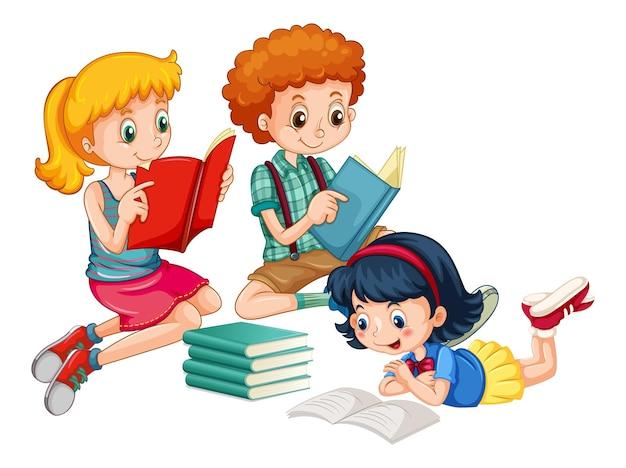 Groupe de personnage de dessin animé de jeunes enfants