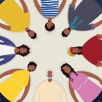 Groupe de personnages afro autour
