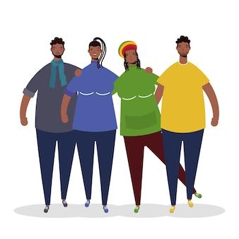 Groupe de personnages afro
