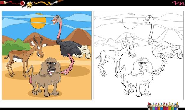 Groupe de personnages d'animaux de dessin animé page de livre de coloriage