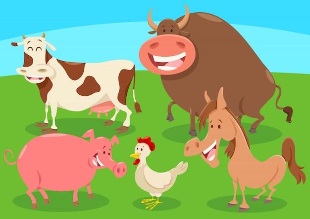 Groupe de personnages d'animaux de ferme de bande dessinée