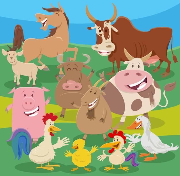 Groupe de personnages d'animaux de ferme de dessin animé à la campagne