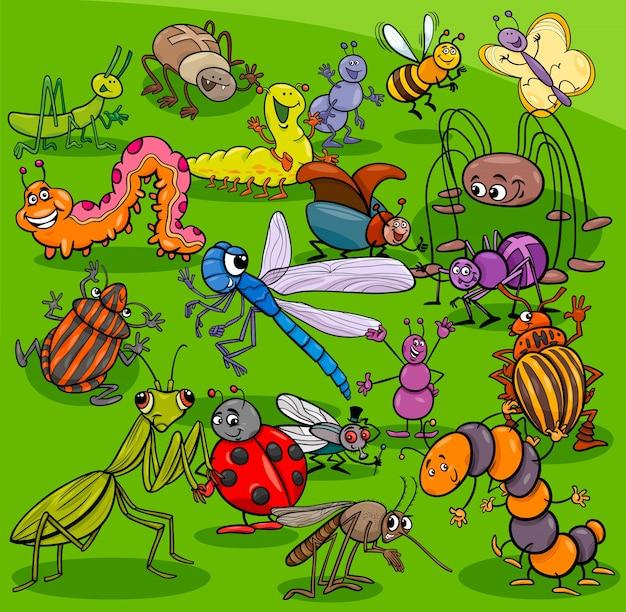 Groupe de personnages animaux insectes dessin animé