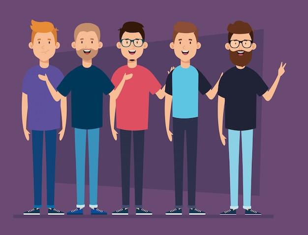 Groupe de personnages d'avatar de jeunes hommes