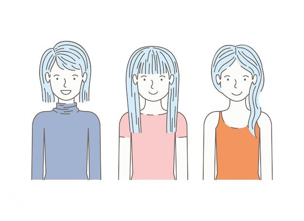 Groupe de personnages d'avatars de filles