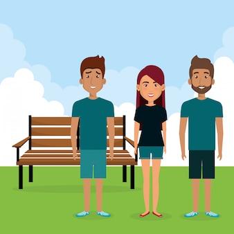 Groupe de personnages avatars