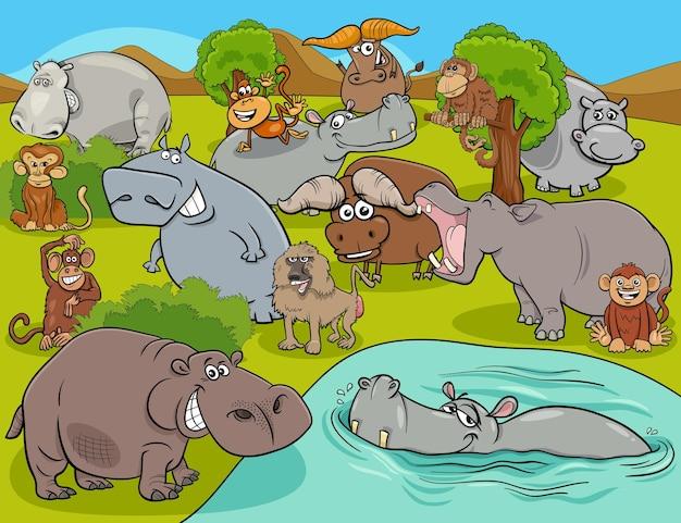 Groupe de personnages de bandes dessinées d'animaux sauvages africains
