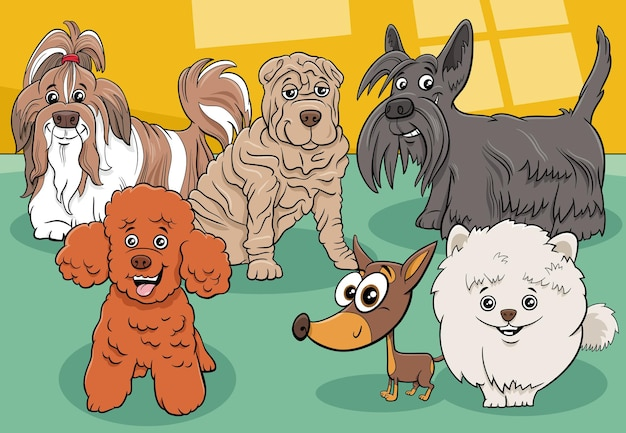 Groupe de personnages de bandes dessinées de chiens et chiots de race pure