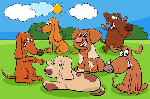 Groupe de personnages de chien de dessin animé heureux