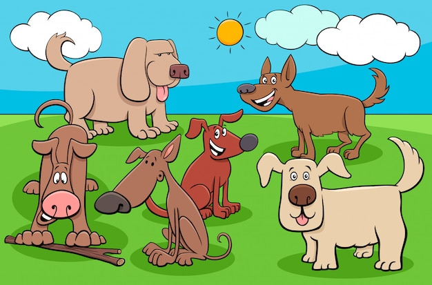 Groupe de personnages de chiens drôles de dessin animé