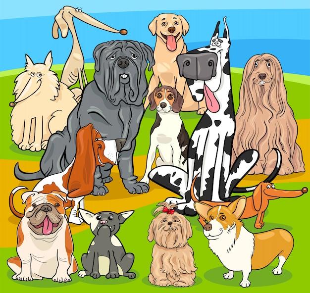 Groupe de personnages de dessin animé de chiens de race pure