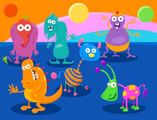 Groupe de personnages de dessin animé fantasy monster