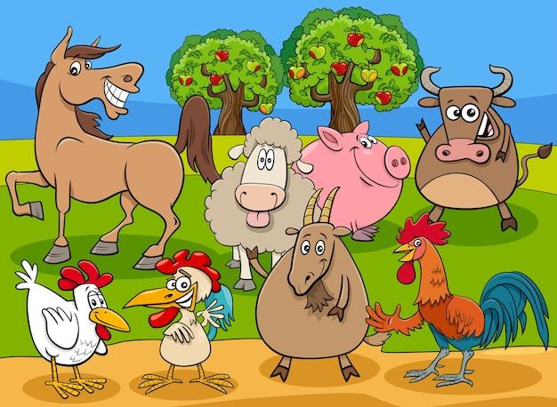 Groupe de personnages de dessins animés animaux de ferme drôles