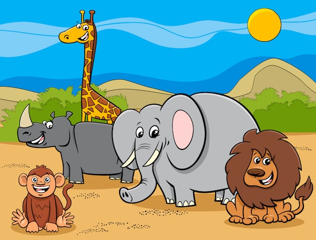 Groupe de personnages de dessins animés d'animaux safari