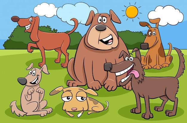 Groupe de personnages de dessins animés chiens et chiots