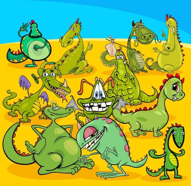 Groupe de personnages de dessins animés dragons