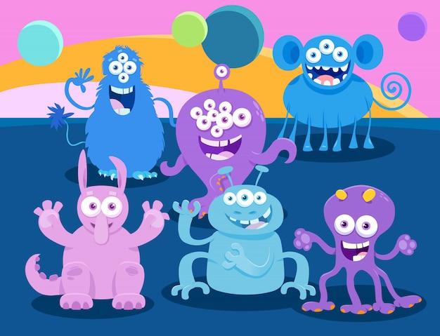 Groupe de personnages de dessins animés fantasy monster